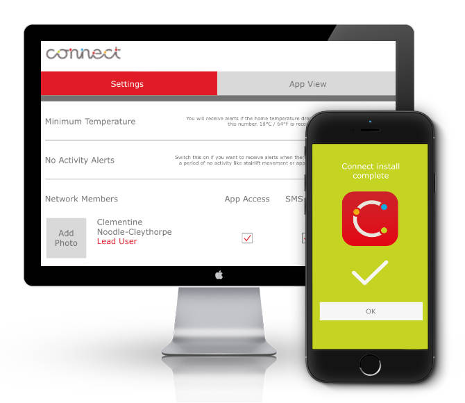 Connect lead user admin and installer app